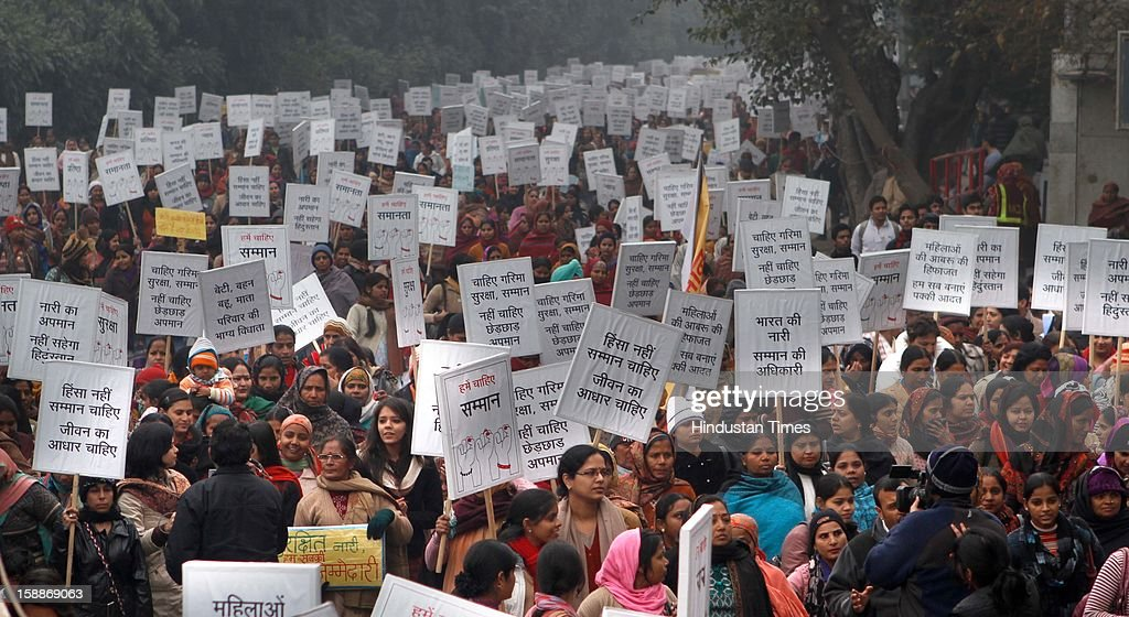 Hundreds of women, including chief minister Sheila Dikshit, participated in a silent march demanding justice for the 23-year-old girl who lost her life after being gangraped and brutally assaulted, at Raj Ghat on January 2, 2013 in New Delhi, India. Dikshit flagged off the 'Mahila Suraksha Samman March' from Bal Bhavan to Rajghat which was participated by over a thousand women.