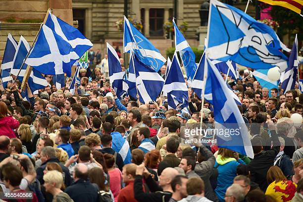 Hundreds of Yes supporters gather in George Square to show their support for the independence referendum on September 16 2014 in Glasgow Scotland...