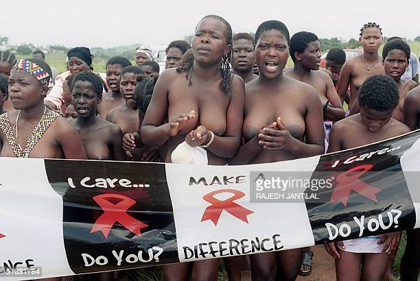 Hundreds of Zulu virgins march 01 December 2001 to promote abstinence from sex as a weapon in the fight against HivAids in Hlabisa on World Aids Day...