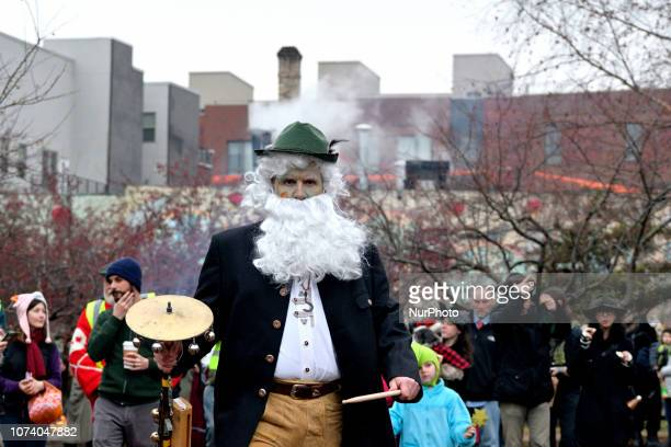 Hundreds participate in the eight annual Parade of Spirits Krampus Parade through the Northern Liberties neighborhood of Philadelphia PA on December...