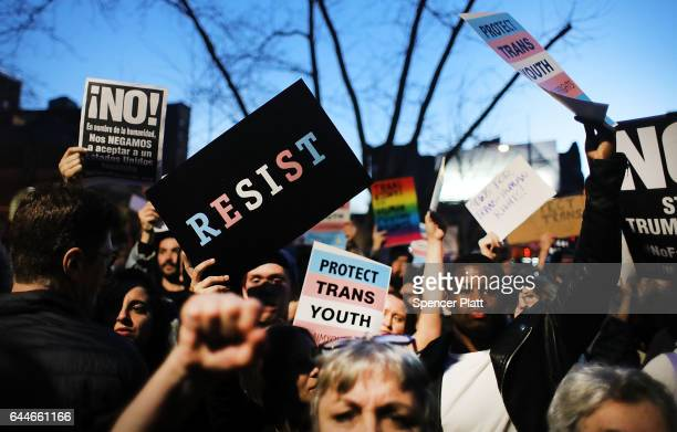 Hundreds protest a Trump administration announcement this week that rescinds an Obamaera order allowing transgender students to use school bathrooms...