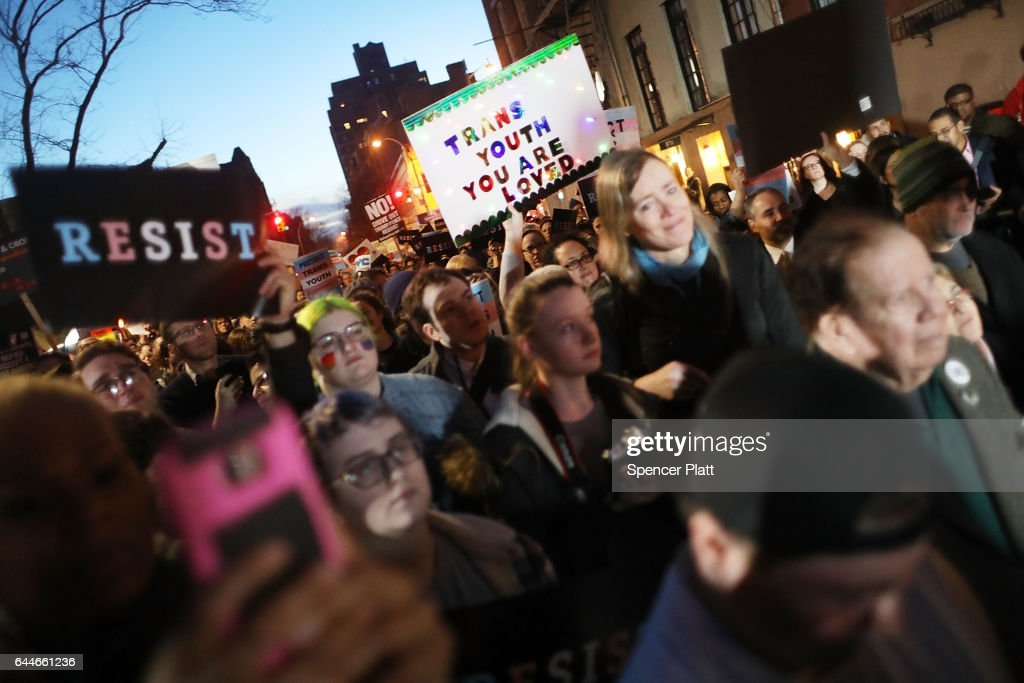 Protestors Rally At Stonewall Inn Against Withdrawal Of Transgender Protections : News Photo