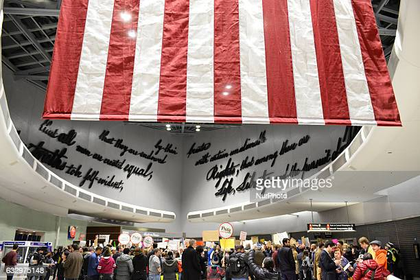 Hundreds protestor the Muslim Ban at Philadelphia International Airport on January 28th 2017 as a group of Government officials' attempt to negotiate...