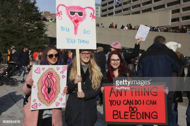 Hundreds take part in the Women's March in downtown Toronto Canada on January 20 2018