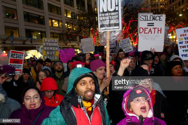 Hundreds turned out for a rally at Westlake Center on March 8 2017 in Seattle Washington The rally was cohosted by Seattle City Councilmember Kshama...