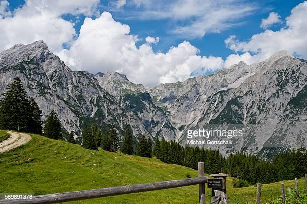 Hundskopf Mountain as part of Karwendelgebirge or Karwendel mountains seen from Walderalm on July 24 2016 in Gnadenwald Austria