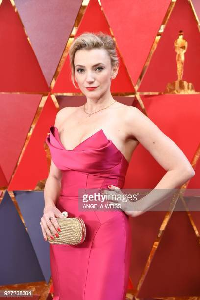 Hungarian actress Alexandra Borbely arrives for the 90th Annual Academy Awards on March 4 in Hollywood California / AFP PHOTO / ANGELA WEISS