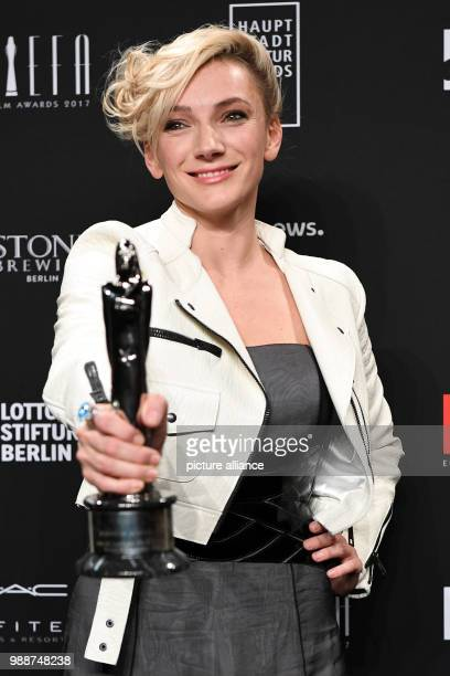 Hungarian actress Alexandra Borbely holding the award for best actress after the 30th European Film Awards 2017 at Haus der Berliner Festspiele in...