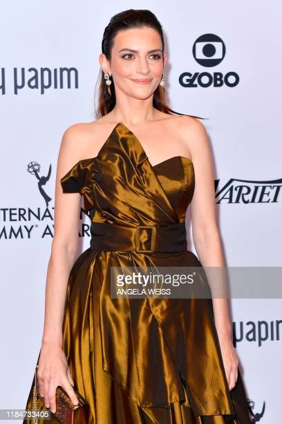 Hungarian actress and assistant director Marina Gera arrives for the 47th Annual International Emmy Awards at New York Hilton on November 25 2019 in...