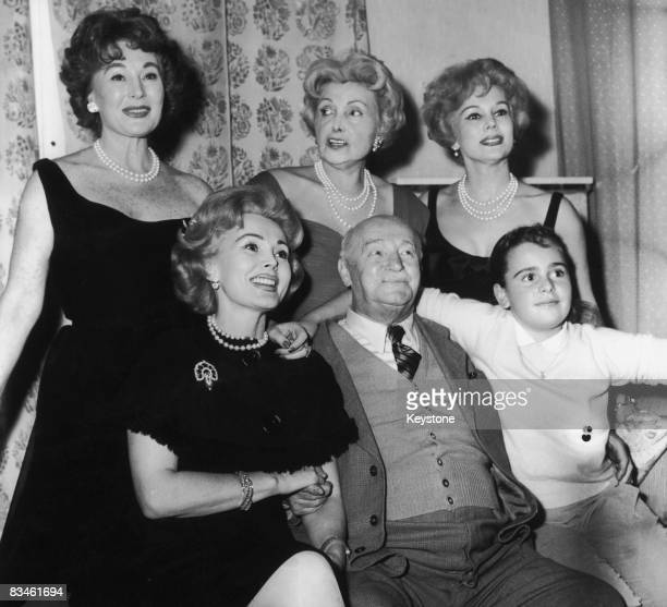 Hungarian actress and socialite Zsa Zsa Gabor with her family at the Hotel Sacher in Vienna October 1958 Standing left to right Zsa Zsa's sister...