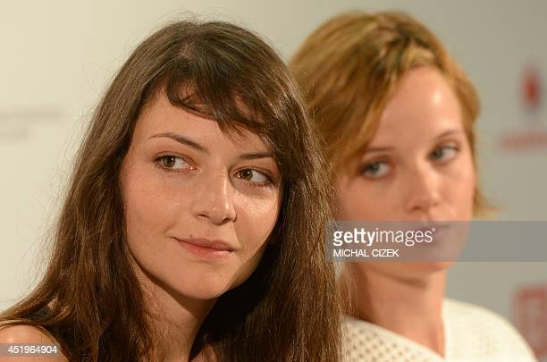 Hungarian actresses Marina Gera and Nora Horich attend a press conference of their film ''Free fall'' in competition at the 49th Karlovy Vary...