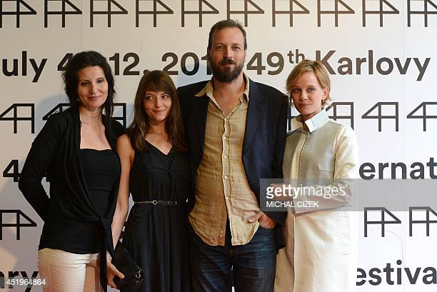 Hungarian actresses Timea Buza Marina Gera Hungarian film director Gyorgy Palfi and actress Nora Horich attend a photo call prior to a press...