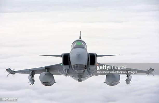 A Hungarian Air Force JAS-39 Gripen involved in NATO Baltic Air Policing Mission over Lithuania.