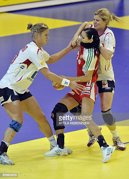 Hungarian Anita Goerbicz is fouled by Norwegians Tonje Larsen and Marit Malm Frafjord during the 8th Women's Handball European Championships match on...