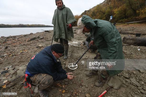 Hungarian archaeologists inspect the site where they found coins from the 16th17th centuries and special weapons on the banks of the Danube river due...