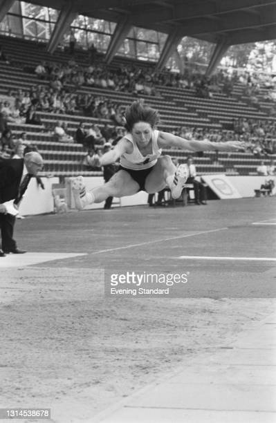 Hungarian athlete Ilona Bruzsenyak competes in the long jump at the Crystal Palace Sports Stadium in London, UK, 29th August 1973.