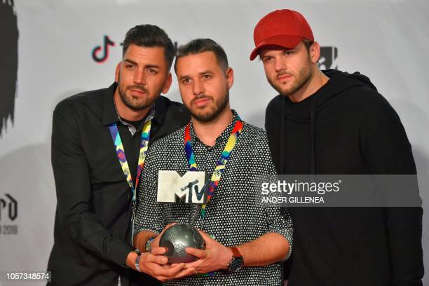 Hungarian band Follow the Flow pose backstage with the Best Hungarian Act award during the MTV Europe Music Awards at the Bizkaia Arena in the...