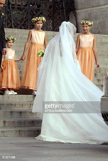 Hungarian born Andrea Meszaros the bride of Carlo Ponti junior who is the son of Italian actress Sophia Loren and Italian producer Carlo Ponti walks...