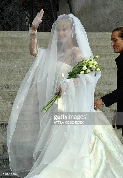 Hungarian born Andrea Meszaros the bride of Carlo Ponti who is the son of Italian actress Sophia Loren and Italian producer Carlo Ponti waves to the...