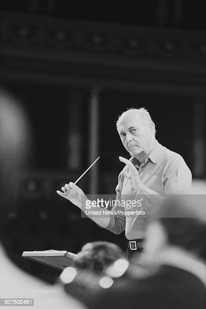 Hungarian born conductor Georg Solti conducts the Chicago Symphony Orchestra during a Proms performance at the Royal Albert Hall in London on 5th...