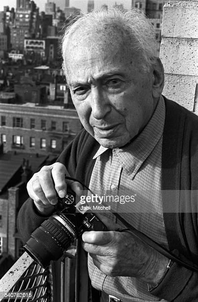 Hungarian born photographer Andre Kertesz known for his contributions to photographic composition and the photo essay photographed in April 1985