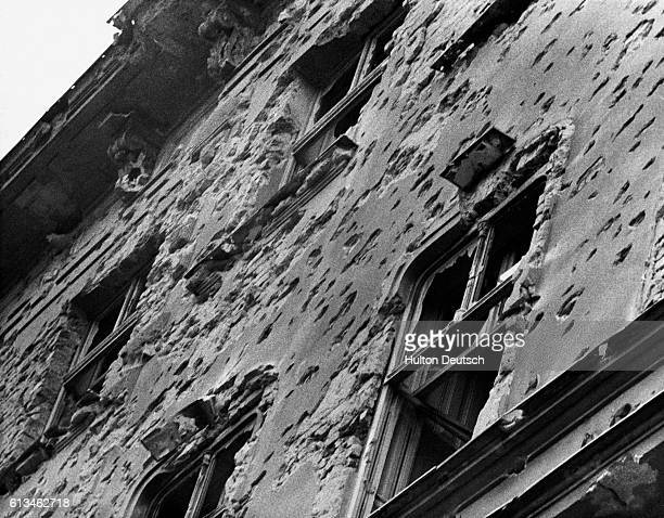 A Hungarian building scarred with bullet holes during the 1956 uprising against the ruling communist regime