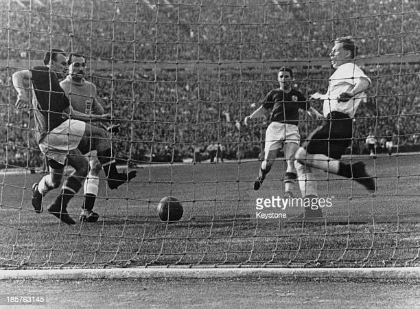 Hungarian captain Ferenc Puskas scores his team's second goal in the 17th minute of a friendly international at the Nepstadion Budapest 23rd May 1954...