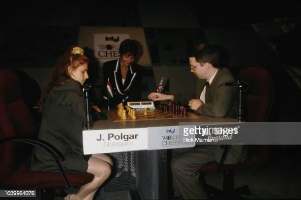 Hungarian chess player Judith Polgar vs British chess player Nigel Short.