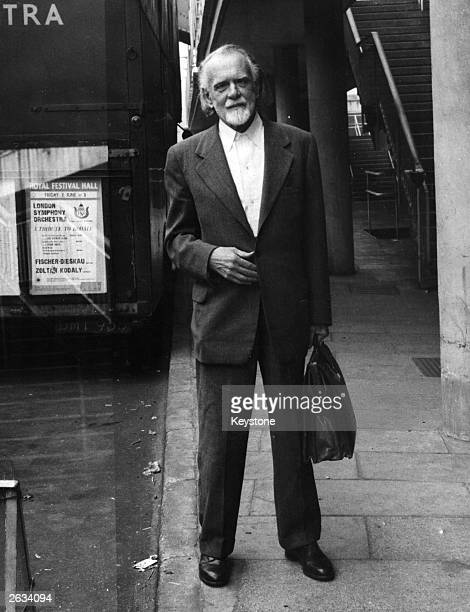 Hungarian composer and conductor Zoltan Kodaly arriving at the Royal Festival Hall, London where he is rehearsing with the London Symphony Orchestra...