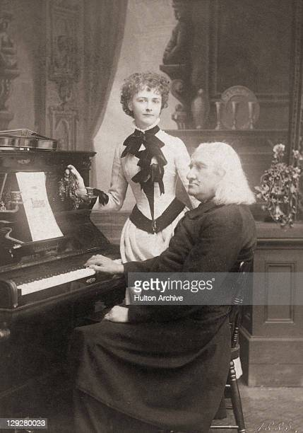 Hungarian composer Franz Liszt with American violinist Arma Senkrah Weimar Germany July 1885 The portrait was taken by German photographer and...