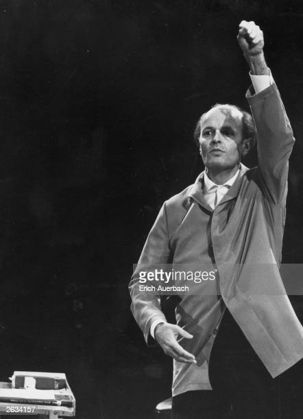 Hungarian conductor Ferenc Fricsay conducting the London Philharmonic Orchestra at the Royal Festival Hall, London, 9th May 1961. Original...