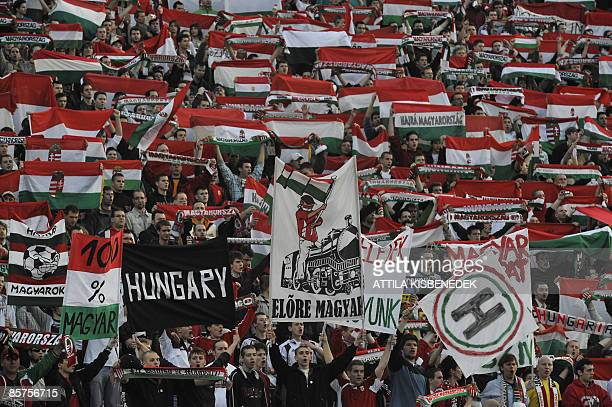 Hungarian fans celebrate against Malta prior to their World Cup 2010 qualification match at Puskas stadium of Budapest on April 1 2009 Hungary won by...