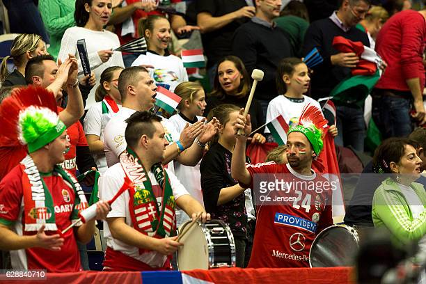 Hungarian fans during the Women's European Handball Championship Group C match between Montenegro and Hungary on December 9, 2016 in Malmo, Sweden.