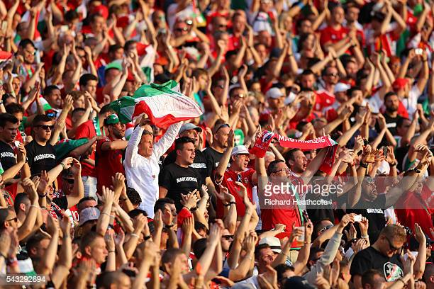 Hungarian fans show their support during the UEFA EURO 2016 round of 16 match between Hungary and Belgium at Stadium Municipal on June 26 2016 in...