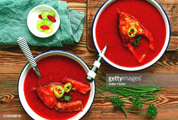 hungarian fish soup - traditionally hungarian stock pictures, royalty-free photos & images
