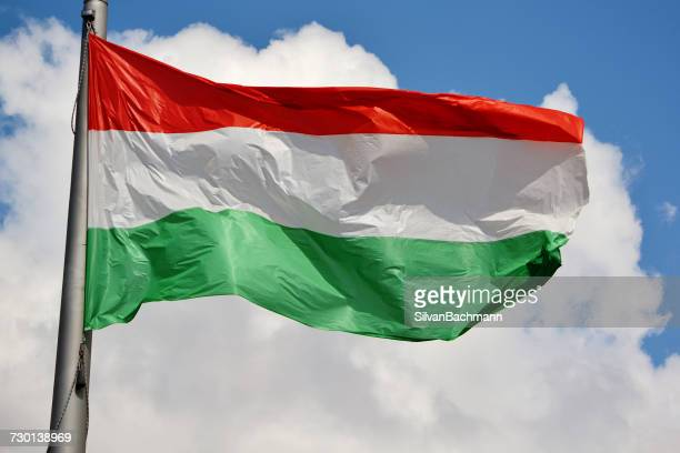 Hungarian Flag blowing in wind