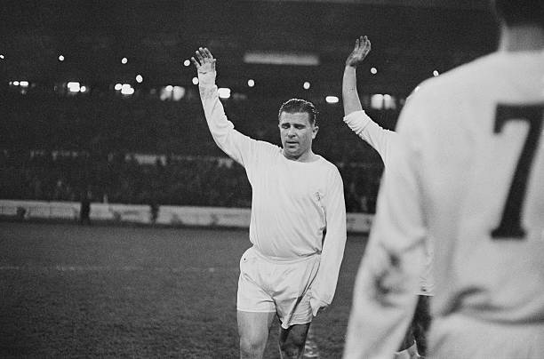 Hungarian footballer Ferenc Puskas of Real Madrid leads the team out to play Chelsea at Stamford Bridge, London, 22nd November 1966.