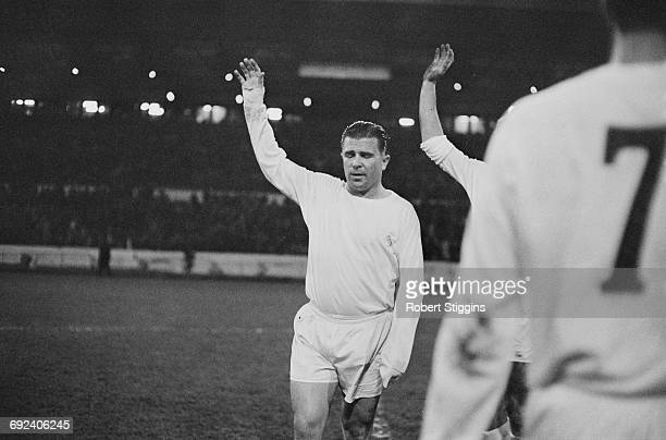 Hungarian footballer Ferenc Puskas of Real Madrid leads the team out to play Chelsea at Stamford Bridge London 22nd November 1966