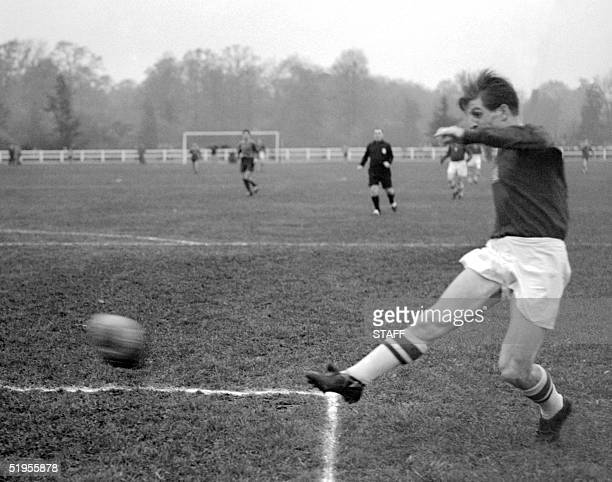 Hungarian forward Zoltan Czibor kicks the ball during a match taking place in november 1953 Czibor scored three goals during the 1954 Soccer World...