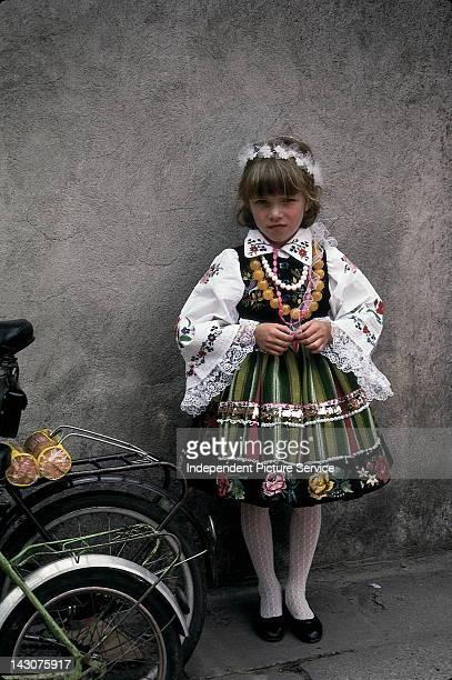 Hungarian girl in traditional dress, Hungary.