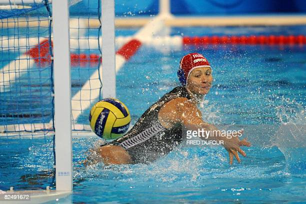 Hungarian Goalkeeper Patricia Horvath misses a penalty during the bronze medal waterpolo match of the 2008 Beijing Olympics Games against Australia...