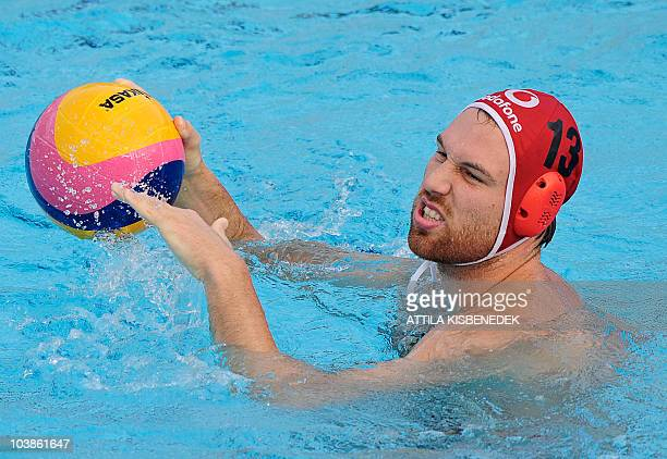 Hungarian goalkeeper Viktor Nagy controls the ball against Macedonia in Zagreb on September 5 2010 during their group match of the water polo...