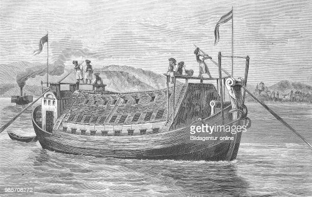 Hungarian grain ship on the Danube, Hungary, Reproduction of an original woodcut from the year 1882, digital improved.
