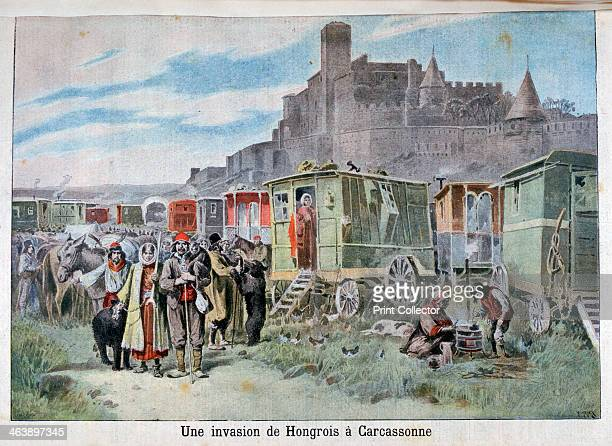 Hungarian gypsies outside Carcassonne France 1898 An illustration from Le Petit Journal 18th December 1898