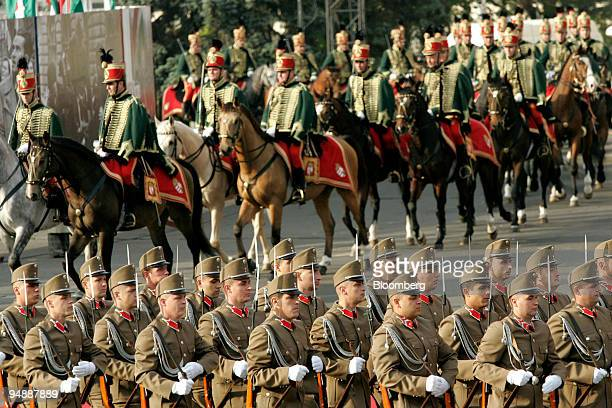 Hungarian hussars and an official honor guard arrive at the Hungarian parliament to commemorate the 50th anniversary of the 1956 antiSoviet uprising...