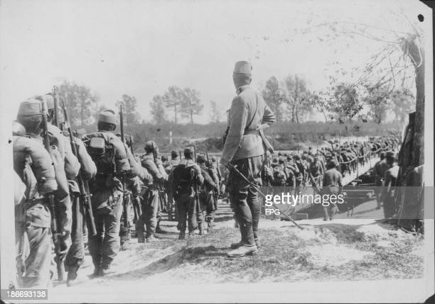 Hungarian infantry reinforcements near the Carpathian mountains during World War One Romania circa 19141919