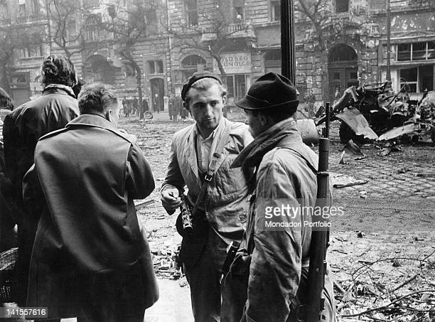 Hungarian insurgents standing in the capital street during the last resistance days Budapest November 1956
