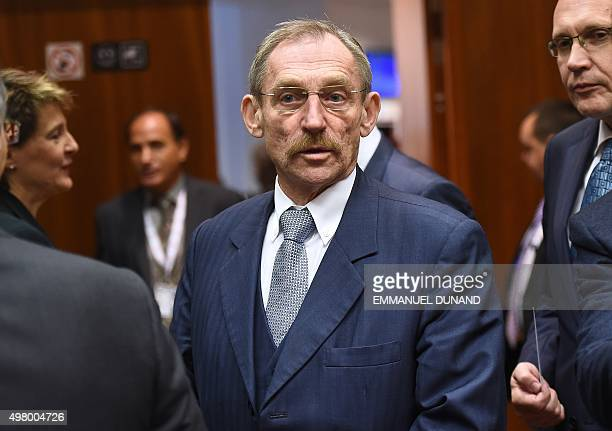 Hungarian Interior Minister Sandor Pinter arrives to attend an extraordinary Justice and Home Affairs Council following the attacks in Paris at the...