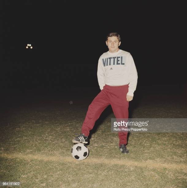 Hungarian international footballer and midfielder with Budapest Honved FC, Lajos Kocsis pictured on a football pitch during a Hungary national team...