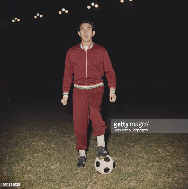 Hungarian international footballer and midfielder with Ujpest FC, Janos Gorocs pictured on a football pitch during a Hungary national team training...